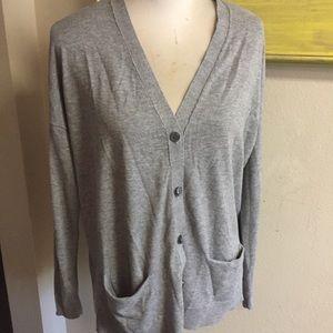 Ann Taylor Loft heather Gray cardigan Sz XL wool